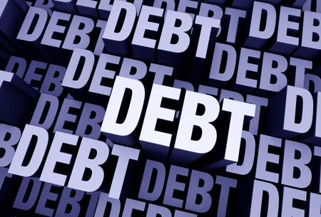 A 3D blue gray background filled with the word DEBT repeated many times a different depths. Stock Photo