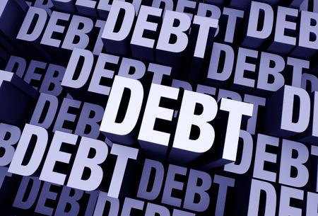 """indebtedness: Uno sfondo grigio blu 3D riempito con la parola """"debito"""" ripetuto pi� volte a diverse profondit�. Archivio Fotografico"""