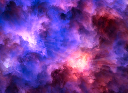 menacing: Light rays burst from turbulent, surreal, blue and purple and red and yellow clouds as they collide symbolizing a range of concepts such as creation, the birth of stars, or an ominous maelstrom.