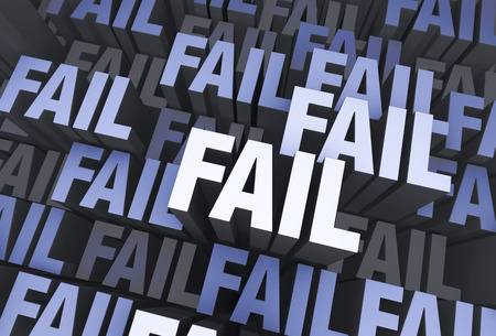fiasco: A 3D blue gray background filled with the word FAIL repeated many times a different depths.