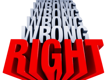 right vs wrong: A shiny bold, red RIGHT dominates the foreground with many layers of WRONG in light gray stacked on top. Stock Photo