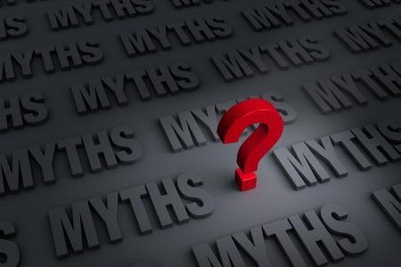 """빨간색  """"? """"어두운 회색 바탕에  """"MYTHS """"거리에 멀어져 서 있습니다. 스톡 콘텐츠 - 33896609"""