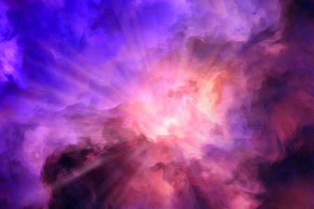 aside: Light rays burst from roiling red and yellow clouds pushing aside calmer blue clouds.  Illustration representing intense energy, creation.