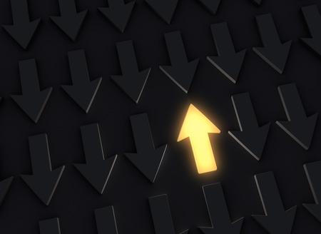 上向き矢印または下向き矢印の暗視野で際立って明るい、輝く黄色 写真素材