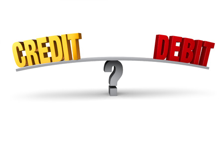 see saw: Bright, gold CREDIT and red DEBIT sit on opposite ends of a gray board which is balanced on a question mark. Isolated on white.