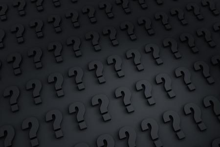 暗い背景の列でいっぱいの距離に後退し灰色のクエスチョン マーク 写真素材