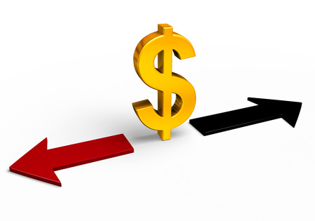 negative returns: A bright, gold dollar sign stands between a red arrow pointing back towards losses and a black arrow pointing forward towards gains.  Isolated on white. Stock Photo