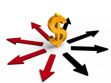 negative equity: A bright, gold dollar sign stands in center of black and red arrows pointing in different directions.  Red arrows point to losses, black arrows to gains.  Isolated on white.