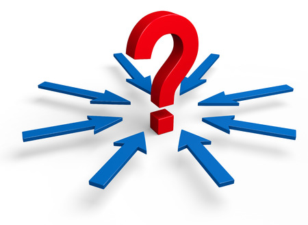 unknowing: A large, red question mark stands in the center of a circle of eight blue arrows pointing towards it.  Isolated on white.
