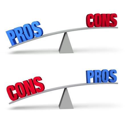 outweighs: Juego de dos barras de equilibrio favor y en contra aislado en blanco. En una escala, un audaz PROS azules supera un CONS rojos y, por el otro, una CONS rojas supera un PROS azules.