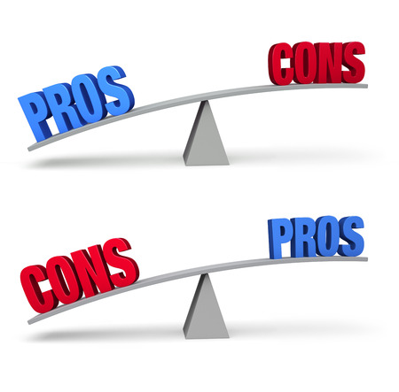 cons: Set of two pro and con balance beams isolated on white. On one scale, a bold blue PROS outweighs a red CONS and on the other, a red CONS outweighs a blue PROS. Stock Photo