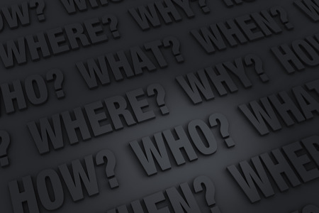 A dark background filled with the WHO?, WHAT?, WHERE?, WHEN?, HOW?, and WHY?.