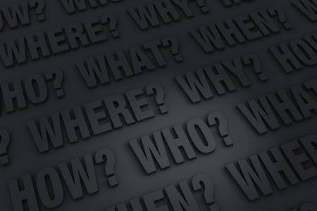 """Een donkere achtergrond gevuld met de """"Wie?"""", """"Wat?"""", """"WAAR?"""", """"WANNEER?"""", """"Hoe?"""" En """"Waarom?""""."""