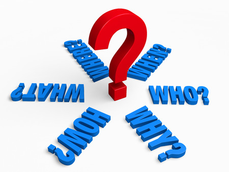 when: The words,  WHO?, WHAT?, WHERE?, WHEN?, HOW?, and WHY? in blue radiate outwards from a large, red question mark.  Isolated on white.