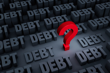 financial questions: A red ? stands out in a dark background of gray DEBT rising up around it.