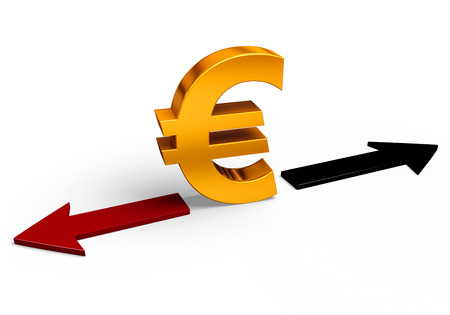 negative returns: A bright, gold Euro sign stands between a red arrow pointing back towards losses and a black arrow pointing forward towards gains.  Isolated on white. Stock Photo