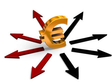 negative equity: A bright, gold Euro sign stands in center of black and red arrows pointing in different directions.  Red arrows point to losses, black arrows to gains.  Isolated on white.