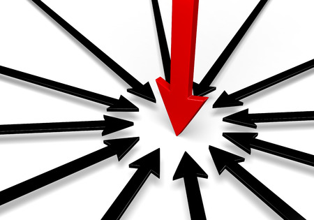 spot the difference: A circle of black arrows surround a larger, red arrow, all pointing to the same spot.  Isolated on white.