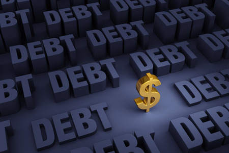 debt: A small, gold dollar sign stands in a dark