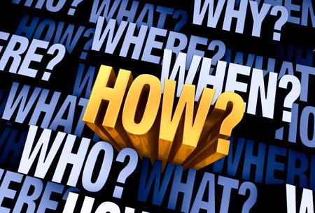 明るい、金「どのようにですか?」「誰か」に満ちた 3 D 青灰色の背景から出てくるWHAT?「どこでですか?」、「いつ?」、「どのようにですか?