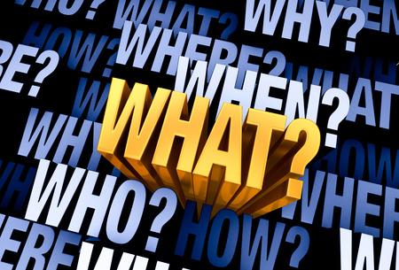 「何か」「誰か」に満ちた 3 D 青灰色の背景から出てくる明るい、金WHAT?、「どこでですか?」、「いつ?」、「どのようにですか?」、と「なぜ