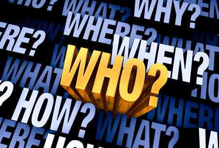 speculation: A bright, gold WHO? emerges from a 3D blue gray background filled with WHO?, WHAT?, WHERE?, WHEN?, HOW?, and WHY? at different depths. Stock Photo