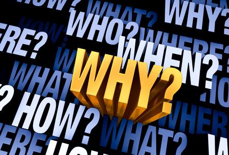 """Een helder, goud """"Waarom?"""" blijkt uit een 3D-blauwe grijze achtergrond gevuld met """"WHO?"""", """"Wat?"""", """"WAAR?"""", """"WANNEER?"""", """"Hoe?"""", en """"Waarom?"""" op verschillende dieptes. Stockfoto"""