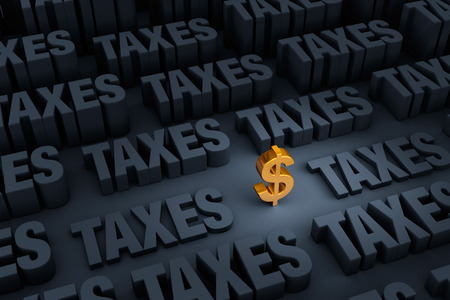 A small gold dollar sign stands out in a dark background of gray TAXES rising up around it.