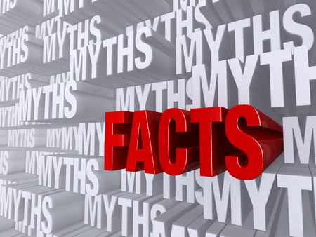 pushes: A bold, red FACTS dramatically pushes forward out of a light gray background of MYTHS Stock Photo