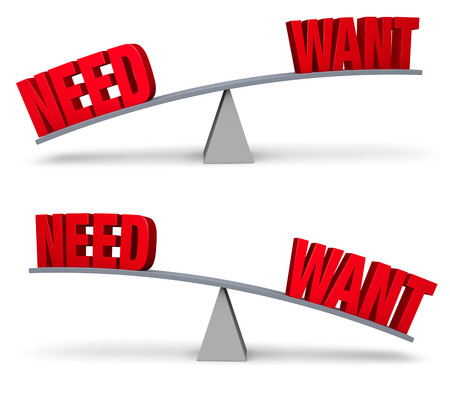priorities: Set of two images. In each, a red NEED and WANT sit on opposite ends of a gray balance board.  In one image, NEED outweighs WANT in the other, WANT outweighs NEED. Isolated on white.