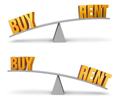 outweighs: Set of two images. In each, a gold BUY andRent sit on opposite ends of a gray balance board.  In one image, BUY outweighs RENT in the other, RENT outweighs BUY. Isolated on white.