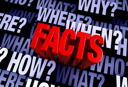 A bold, red FACTS rises from A 3D blue gray background filled with WHO, WHAT, WHERE, WHEN, HOW, and WHY at different depths. Stock Photo