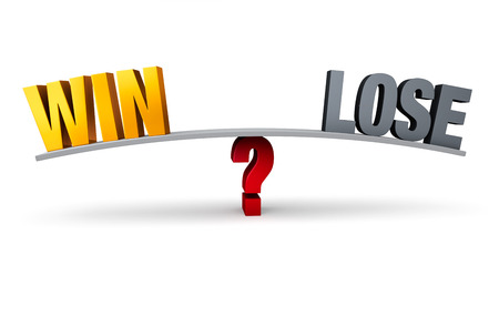 A bright, gold WIN and dark, gray LOSE sit on opposite ends of a gray board balanced on a red question mark. Isolated on white.