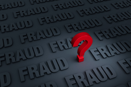 questioning: A red  stands out in a dark background filled with the word FRAUD receding into the distance Stock Photo