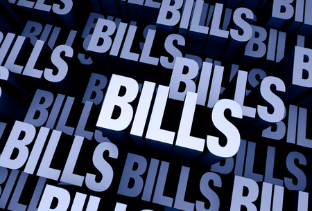 payable: A 3D blue gray background filled with the word BILLS repeated many times a different depths.