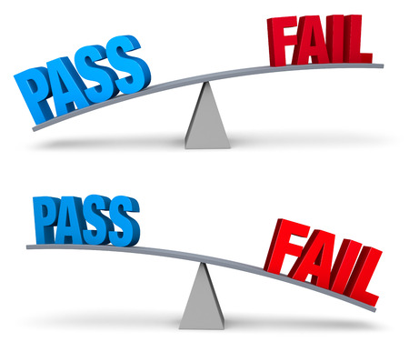 Set of two images. In each, a blue PASS and a red FAIL sit on opposite ends of a gray balance board.  In one image, PASS outweighs FAIL in the other, FAIL outweighs PASS. Isolated on white. Banco de Imagens