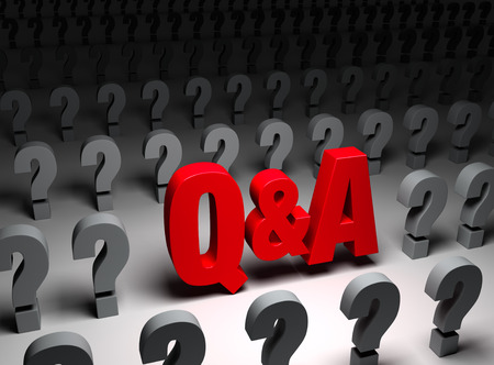 inquiry: A red Q&A stands out in a dark field of gray question marks.