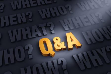 A bright, gold Q&A stands out in a dark background filled with WHY?, WHO?, WHAT?, WHEN?, WHERE?, and HOW? Stock Photo