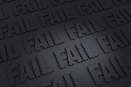 """Een donkere achtergrond gevuld met """"FAIL"""" terugwijkende in de verte. Stockfoto"""