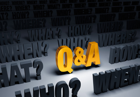 questioning: A bright, gold Q&A stands out in a dark background filled with WHY?, WHO?, WHAT?, WHEN?, WHERE?, and HOW? Stock Photo