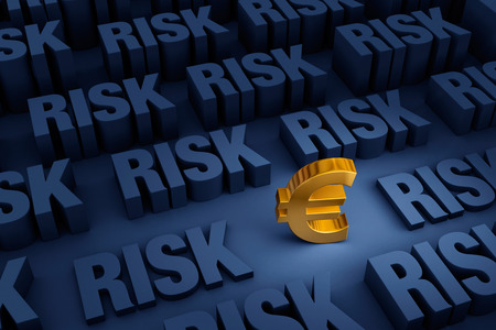 speculation: A small gold Euro sign stands out in a dark background of gray RISK rising up around it. Stock Photo