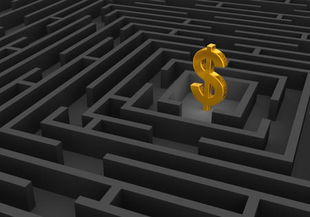 complex navigation: A bright, gold dollar sign stands at the center of a dark maze. Stock Photo