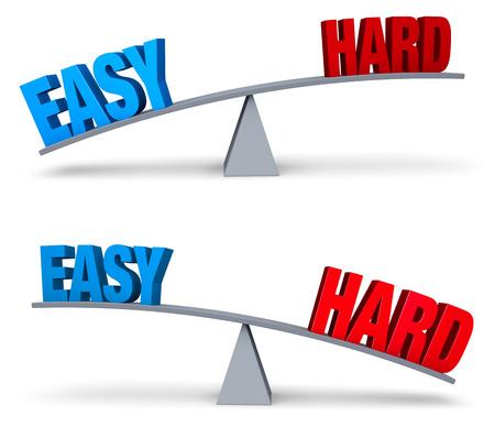 """outweighs: Un """"EASY"""" azul y rojo """"DURO"""" se sientan en extremos opuestos de una tabla de equilibrio gris. En una imagen, """"EASY"""" pesa m�s """"duro"""" en la otra, """"HARD """" mayor que """"EASY"""". Aislado en blanco. Foto de archivo"""