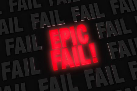 """밝은, 빛나는 빨간색 """"EPIC FAIL!"""" 회색의 어두운 분야에서 눈에 띈다들 """"FAIL"""". 스톡 콘텐츠"""