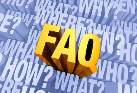 questioning: FAQ emerges from a light, 3D blue gray background filled withWHO,WHAT,WHERE,WHEN,HOW, and WHY at different depths.