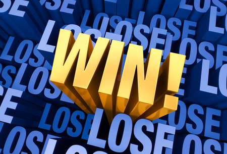 prevail: A bright, gold \WIN!\ emerges from a 3D blue gray background filled with \LOSE\ at different depths.
