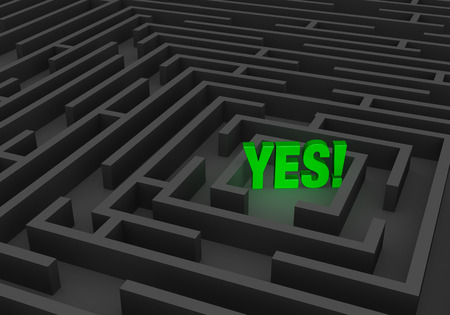 persevere: A bright, green \YES\ stands at the center of a dark maze. Stock Photo