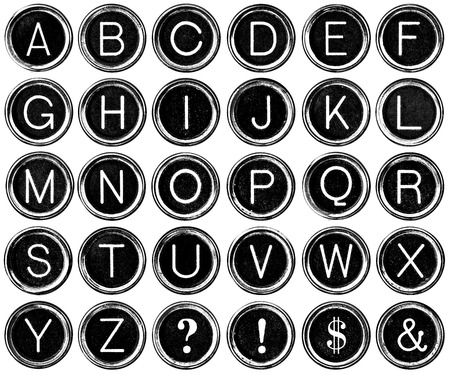 Black and white graphic style antique typewriter keys including question mark, exclamation, dollar sign and ampersand.  Isolated on white with clipping path.