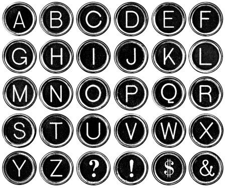 maquina de escribir: Estilo gr�fico antiguos teclas de m�quina de escribir en blanco y negro, incluyendo el signo de interrogaci�n, exclamaci�n, signo de d�lar y signo. Aislado en blanco con saturaci�n camino. Foto de archivo