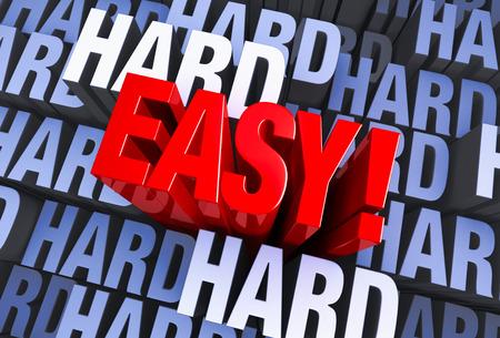 """승리, 빨간색 """"쉽게"""" """"하드 """"단어의 여러 인스턴스로 이루어진 파란색 3d 배경에서 나온다"""